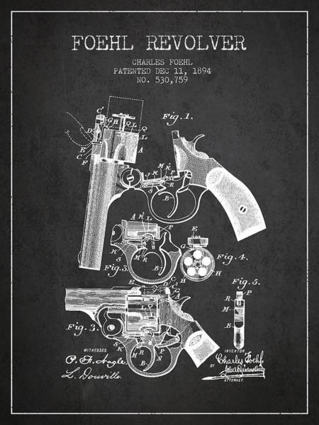 Weapons Digital Art - Foehl Revolver Patent Drawing From 1894 - Dark by Aged Pixel