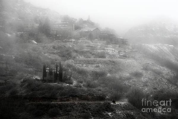 Fog And Snow With Powderbox Church In Jerome Az Art Print