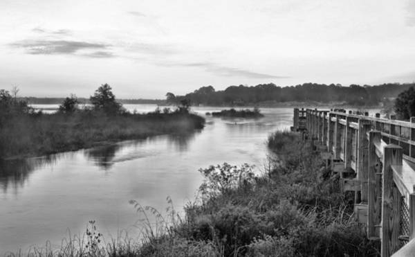 Choctawhatchee Bay Photograph - Fog On The Bayou Black And White by JC Findley