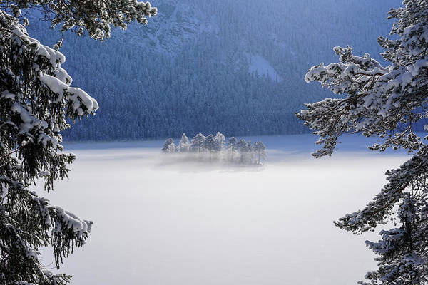 Islands Photograph - Fog Over Frozen Lake by Norbert Maier