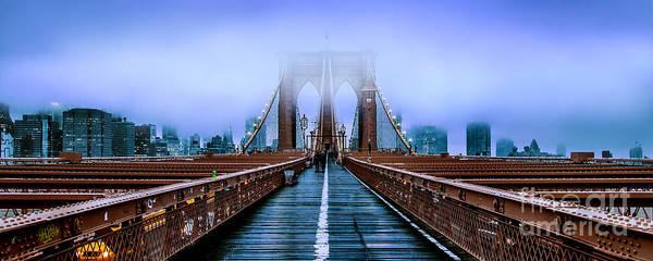 Suspension Bridge Photograph - Fog Over The Brooklyn by Az Jackson
