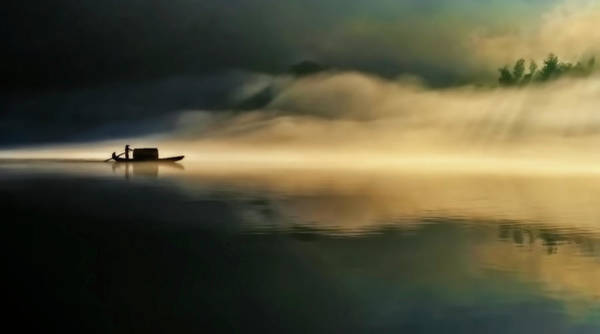 Boat Silhouette Wall Art - Photograph - Fog Sprinkle The East River by Hua Zhu