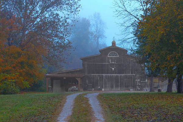 Photograph - Foggy Barn by Jack R Perry