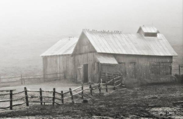 Barn Swallow Wall Art - Photograph - Foggy Barn by Joan Davis