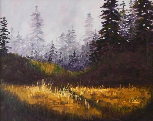 Evergreen Trees Wall Art - Painting - Foggy Morning by Nancy Merkle