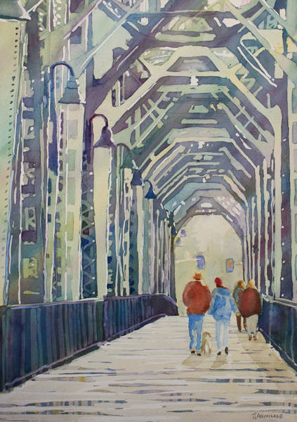Trains Painting - Foggy Morning On The Railway Bridge Two by Jenny Armitage