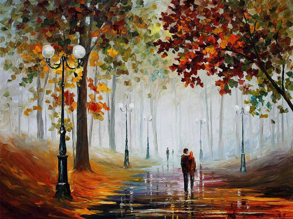 Wall Art - Painting - Foggy Morning - Palette Knife Contemporary Landscape Oil Painting On Canvas By Leonid Afremov - Size by Leonid Afremov