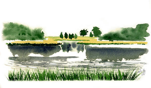 Wall Art - Painting - Foggy Salt Marsh Cape Cod by Paul Gaj