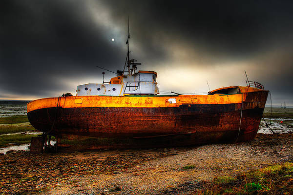 Photograph - Foggy Sun Over Beached Fishing Boat In Rampside Uk by Dennis Dame