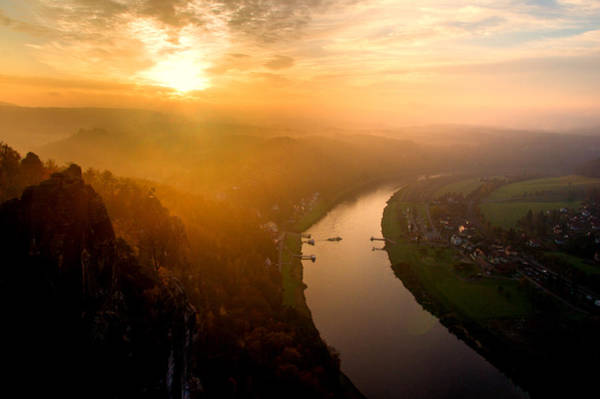 Foggy Sunrise At The Elbe Art Print