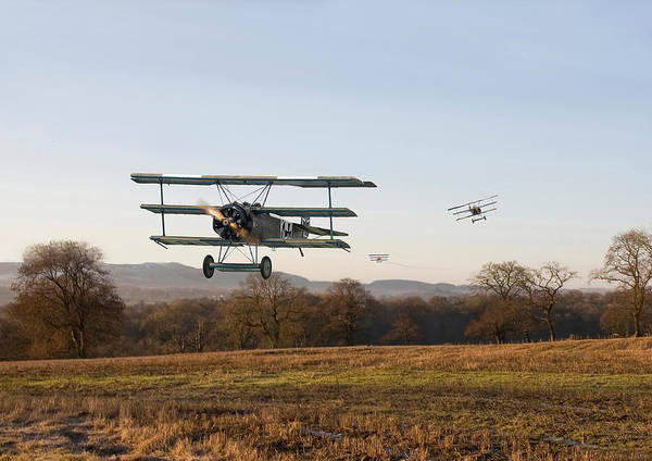 World War 1 Digital Art - Fokker Dr1 - Day's End by Pat Speirs