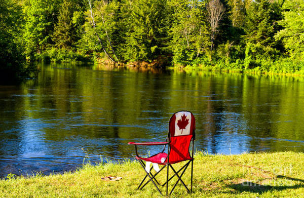 Photograph - Folding Chair At A Riverbank by Les Palenik