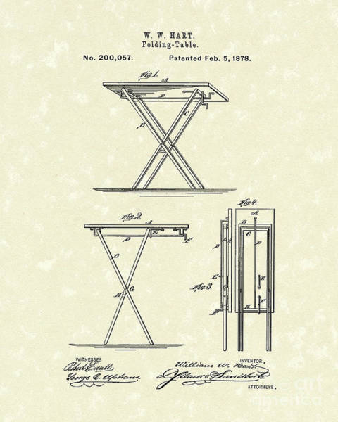 Hart Wall Art - Drawing - Folding Table 1878 Patent Art by Prior Art Design