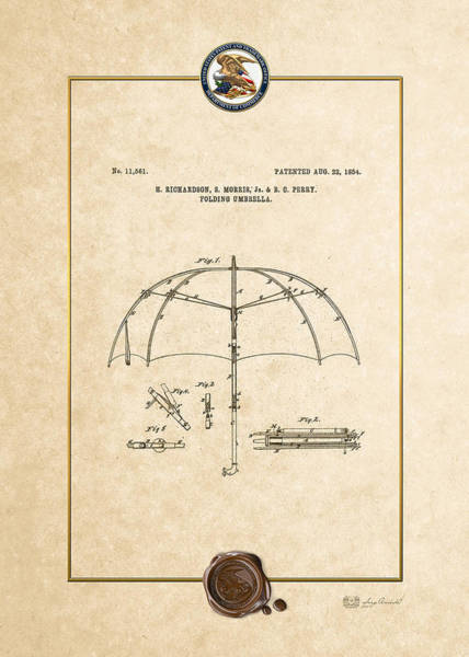 Digital Art - Folding Umbrella - Patent # 11561 - Vintage Patent Document by Serge Averbukh