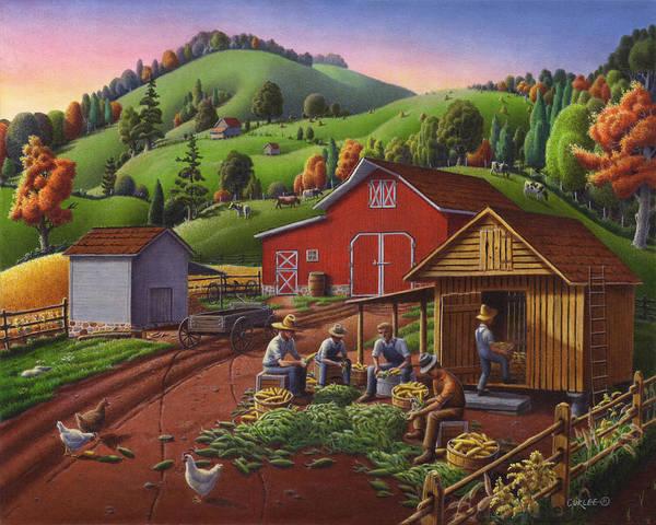 Nebraska Painting - Folk Art Americana - Farmers Shucking Harvesting Corn Farm Landscape - Autumn Rural Country Harvest  by Walt Curlee