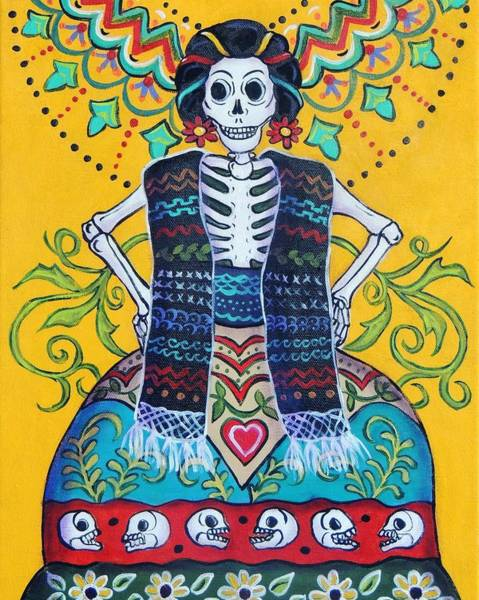 Wall Art - Painting - Folk Art Calavera by Candy Mayer