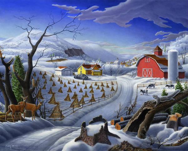 Barn Snow Painting - Folk Art Winter Landscape by Walt Curlee