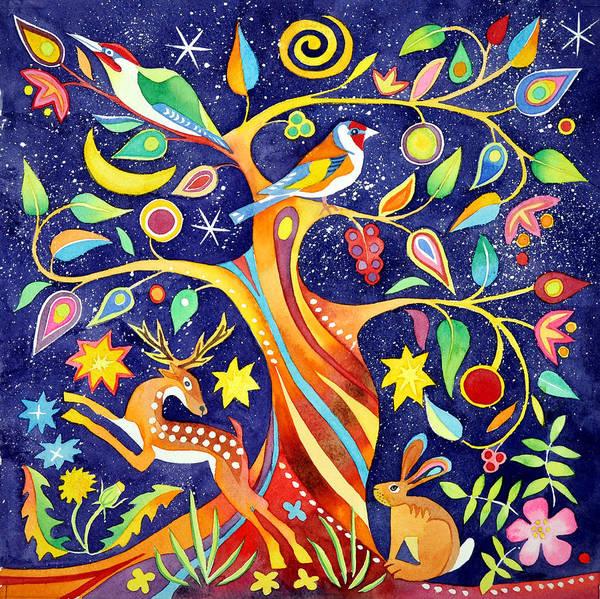 Wall Art - Painting - Folk Tree by Jane Tomlinson