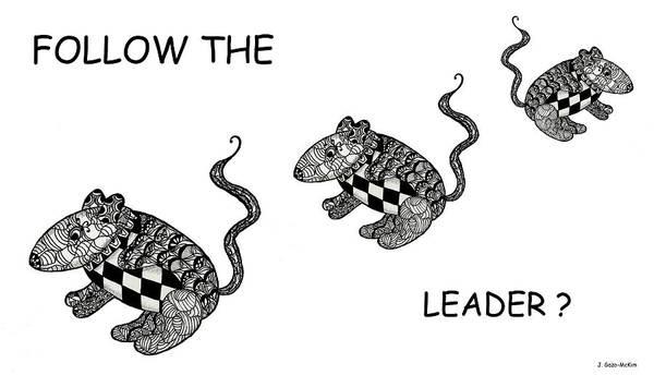 Trio Drawing - Follow The Leader by Jo-Anne Gazo-McKim