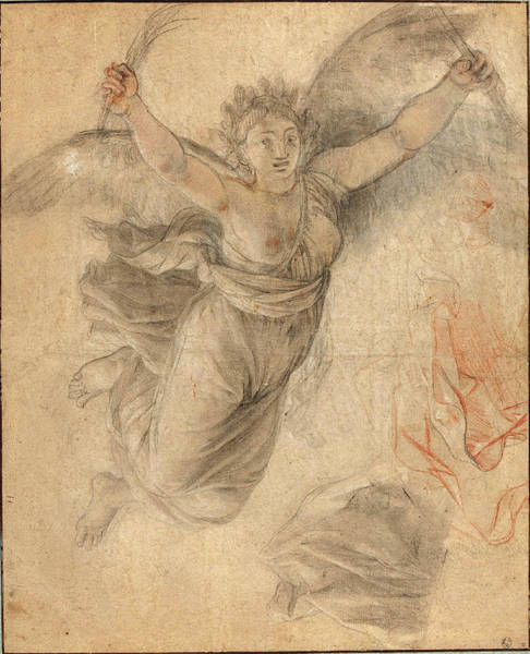 Allegorical Figure Drawing - Follower Of Charles Le Brun, An Allegorical Female Figure by Quint Lox