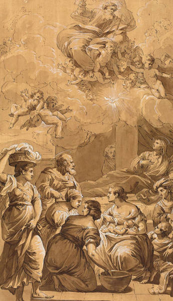 Prepare Drawing - Follower Of Francesco Fontebasso, Birth Of The Virgin, 18th by Quint Lox