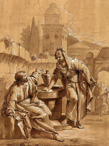 Prepare Drawing - Follower Of Francesco Fontebasso, Christ And The Woman by Litz Collection