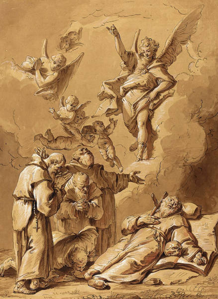 Prepare Drawing - Follower Of Francesco Fontebasso, Death Of A Holy Friar by Litz Collection