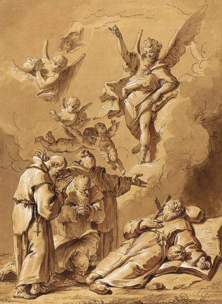 Prepare Drawing - Follower Of Francesco Fontebasso, Death Of A Holy Friar by Quint Lox