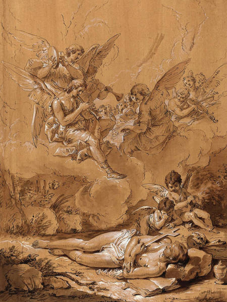Prepare Drawing - Follower Of Francesco Fontebasso, Death Of The Magdalene by Litz Collection