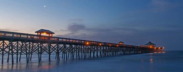 Low Battery Photograph - Folly Beach Pier At Sunrise   Charleston Sc by Willie Harper