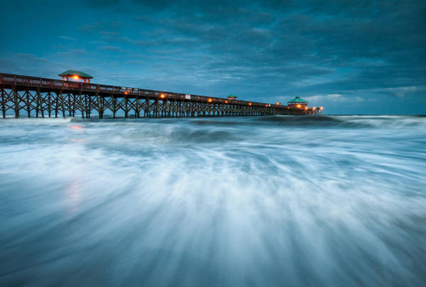 Getaway Photograph - Folly Beach Pier Charleston Sc - Folly Beach Blues by Dave Allen