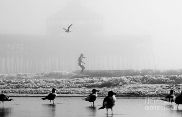 Photograph - Folly Beach Pier Foggy Day Surf by Dustin K Ryan