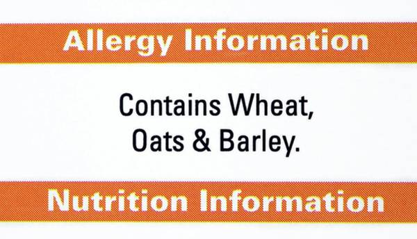 Wall Art - Photograph - Food Allergy Advice Label by Emmeline Watkins/science Photo Library