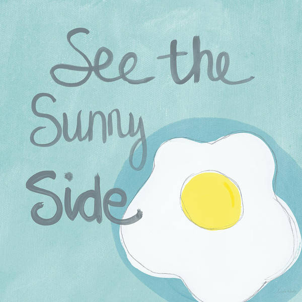 Gray Wall Art - Painting - Food- Kitchen Art- Eggs- Sunny Side Up by Linda Woods