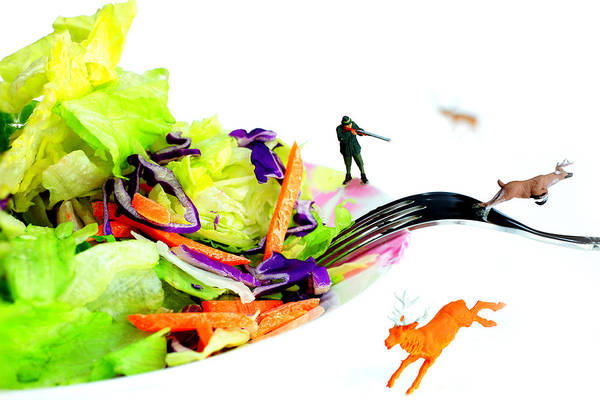 Carrot Painting - Food Protection II Little People On Food by Paul Ge
