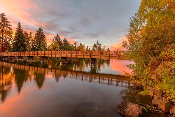 Drake Photograph - Foot Bridge Over Mirror Pond by John Williams