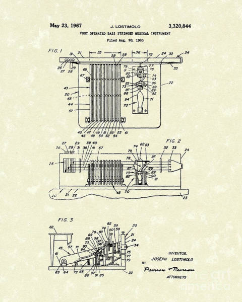 Drawing - Foot Guitar 1967 Patent Art by Prior Art Design