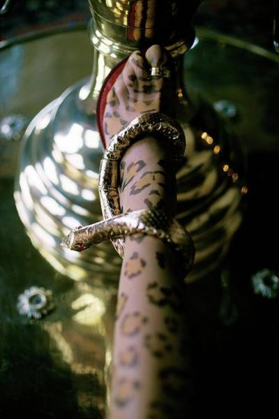 Body Part Photograph - Foot In Cobra Sandal And Leopard Print Stockings by Art Kane