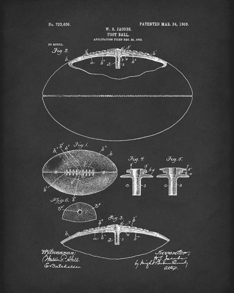 Drawing - Football 1903 Jacobs Patent Art Black by Prior Art Design