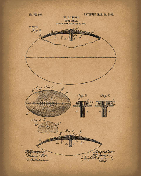 Drawing - Football 1903 Jacobs Patent Art Brown by Prior Art Design
