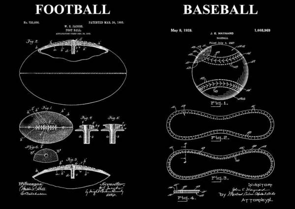 Nfl Drawing - Football Baseball Patent Drawing by Dan Sproul