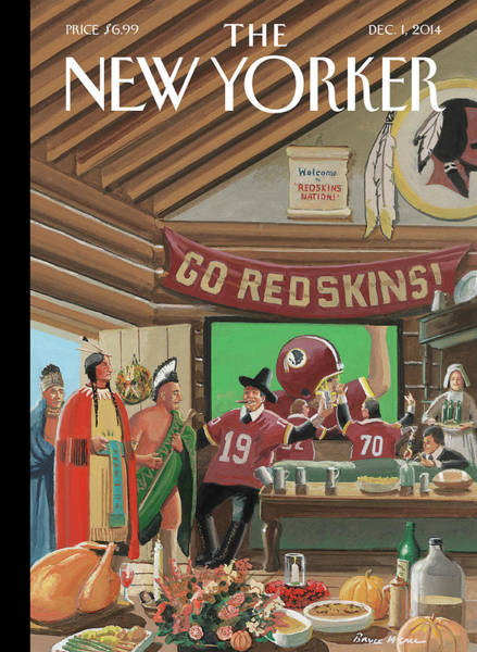 2014 Painting - Football Fans Invite People Over For Thanksgiving by Bruce McCall