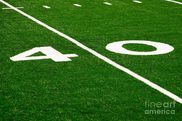 Football Photograph - Football Field 40 Yard Line Picture by Paul Velgos