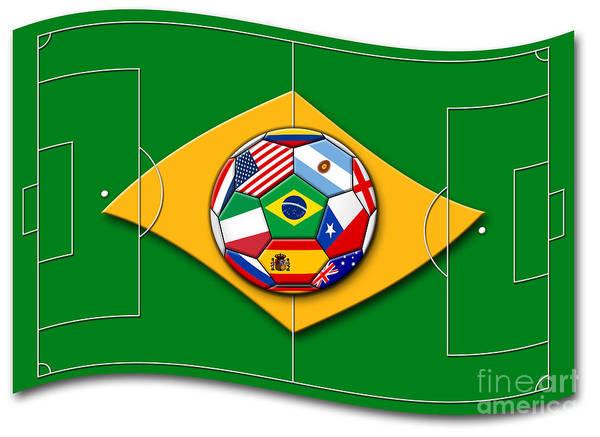 Wall Art - Digital Art - football field looks like Brazil flag with ball by Michal Boubin