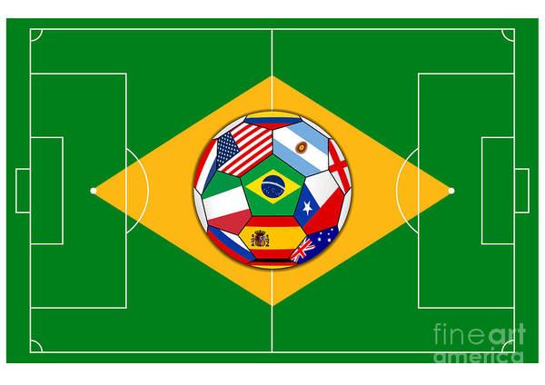Wall Art - Digital Art - football field with ball - Brazil 2014 by Michal Boubin