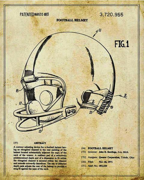 Mixed Media - Football Helmet Patent Blueprint Drawing Tan by Tony Rubino