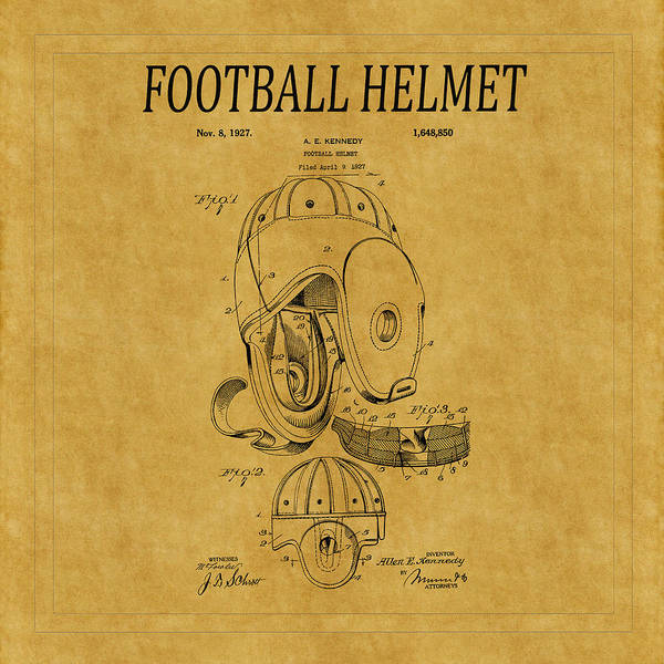 Photograph - Football Helmet Patent 3 by Andrew Fare