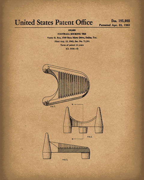 Drawing - Football Kicking Tee 1963 Patent Art Brown by Prior Art Design