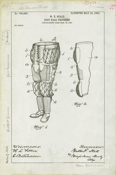Vintage Chicago Drawing - Football Pants Patent Drawing by Jon Neidert