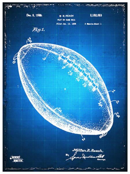 Mixed Media - Football Patent Blueprint Drawing Blue by Tony Rubino